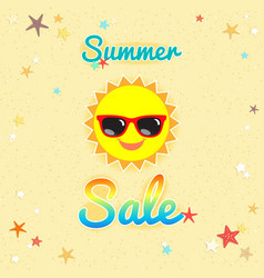 summer sales banner or poster with smiley sun vector image