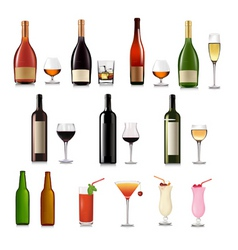 Super group of drinks set vector