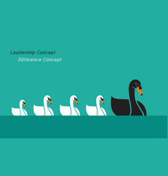 Swan family on blue background leadership concept vector