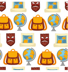 traveling pattern old mask and backpack with map vector image