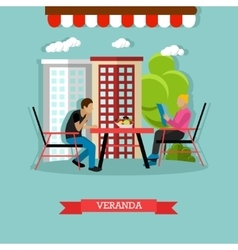 Veranda design element with people sitting vector