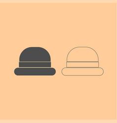 vintage top hat dark grey set icon vector image