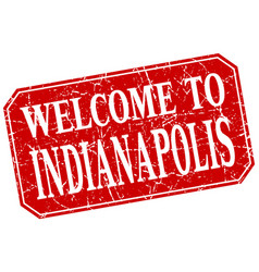 Welcome to indianapolis red square grunge stamp vector