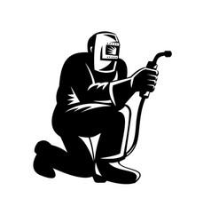 Welder welding kneeling front view retro black vector