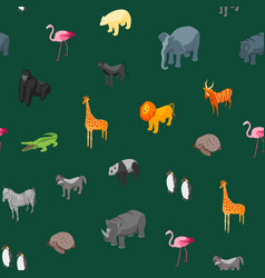 wild animals seamless pattern background isometric vector image