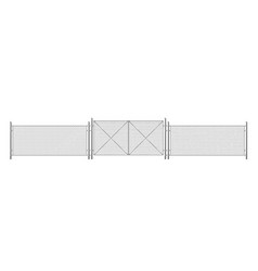 wire fence grid with gate three segments fencing vector image