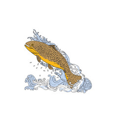 brown trout swimming up turbulent water drawing vector image vector image