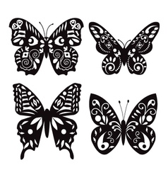butterflies silhouette isolated on white vector image