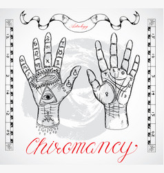 chiromancy chart with hands and lines vector image vector image