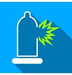 Condom Damage Flat Long Shadow Square Icon vector image vector image