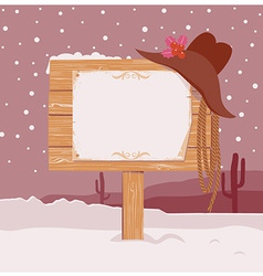 Cowboy Christmas background with wood board for vector image vector image