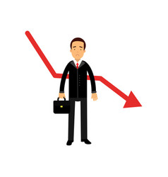 stressed businessman character standing next to vector image