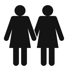 Two girls lesbians icon simple style vector