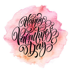 valentines day card with lettering in pink vector image