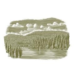 Woodcut Bridge Over River vector image vector image