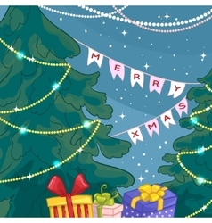 Card with Christmas trees gifts light decoration vector image vector image
