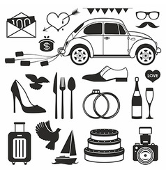 Wedding set icon vector image