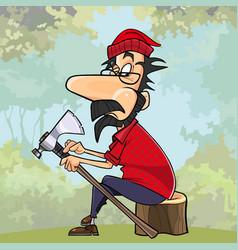 cartoon lumberjack repairs the axe in the woods vector image vector image