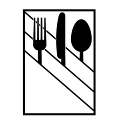 fork knife and spoon in a napkin vector image vector image