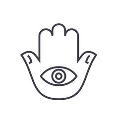 hamsa hand line icon sign on vector image