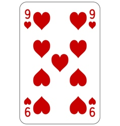 Poker playing card 9 heart vector image vector image