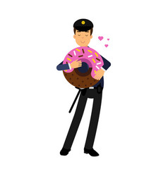 policeman character in a blue uniform standing and vector image