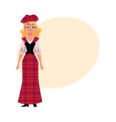scottish woman in national costume tartan beret vector image vector image