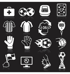 Soccer icons on black background vector image vector image
