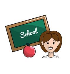 Teacher with class board and apple fruit vector
