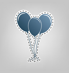 balloons set sign blue icon with outline vector image vector image