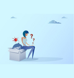 business woman sitting on bomb credit debt finance vector image