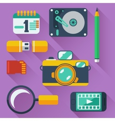 Data storage devices icons vector image