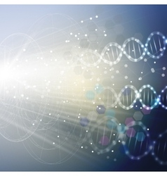 DNA molecule structure on light blue background vector image