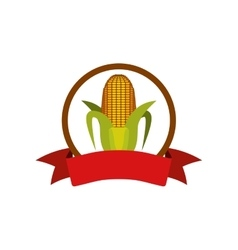 label silhouette colorful with corn vector image