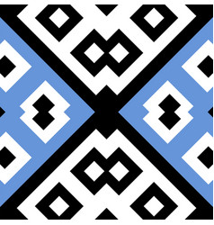 seamless geometric pattern design in blue white vector image vector image