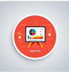 Stand with charts and parameters on round banner vector image vector image