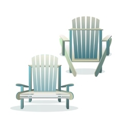 Adirondack wooden chair front and back vector