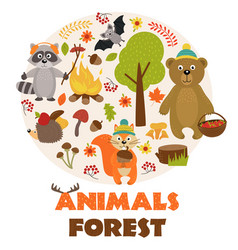 animals of forest part 1 vector image vector image