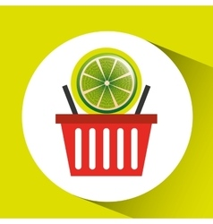 basket market citrus lemon icon design vector image