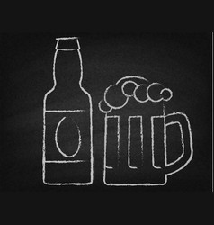 beer mug and bottle on a chalkboard vector image