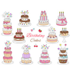 birthday cakes set hand drawn colorful vector image