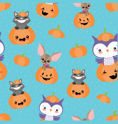 blue pumpkin friends seamless pattern vector image