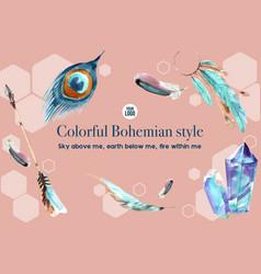 Bohemian frame design with feather crystal arrow vector