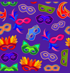 cartoon carnival mask background pattern vector image
