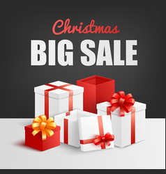 christmas big sale banner with pile gift boxes vector image