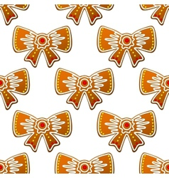 Christmas gingerbread bows seamless pattern vector