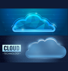cloud technology banner set cartoon style vector image