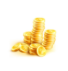 Coins icon of golden dollar coin cent stack vector