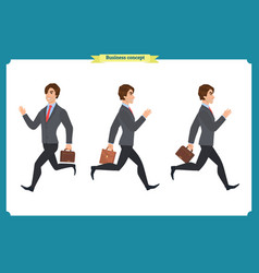 collection set walking and running businessman vector image