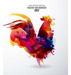 colorful chinese new year rooster for 2017 vector image